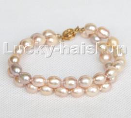 """Genuine 8"""" 2row 9mm rice purple freshwater pearls Bracelet c272"""