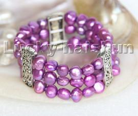 "stretchy Stretch 7-8"" 3row 9mm Baroque purple pearls bracelet c276"