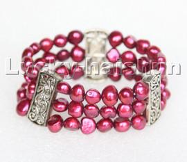 "stretchy Stretch 7-8"" 3row 9mm Baroque wine red pearls bracelet c278"