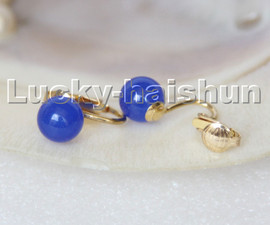 AAA natural 10mm round navy blue Jade beads Earrings Clip c304