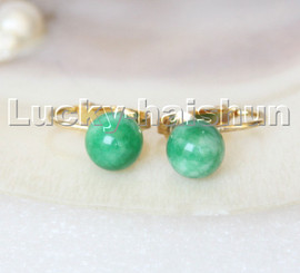 AAA natural 10mm round Multicolor green jade beads Earrings clip c306