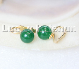 AAA natural 10mm round green jade beads Earrings clip c307