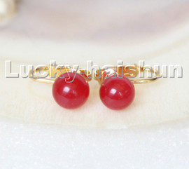 AAA natural 10mm round Red jade beads Earrings clip c308
