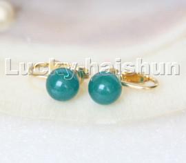 AAA natural 10mm round dark blue jade beads Earrings clip c309