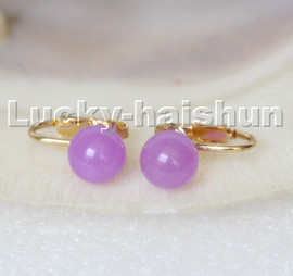 AAA natural 10mm round purple jade beads Earrings clip c310