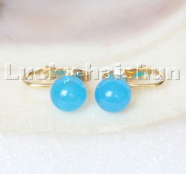 AAA natural 10mm round sky-blue jade beads Earrings clip c311