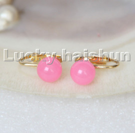 AAA natural 10mm round pink jade beads Earrings clip c312