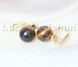 AAA natural 10mm round Yellow Tiger's eyes beads Earrings clip c313