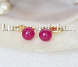 AAA natural 10mm round rosiness jade beads Earrings clip c314