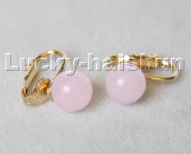 AAA natural 10mm round light pink jade beads Earrings clip c315