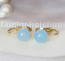 AAA natural 10mm round light blue jade beads Earrings clip c316