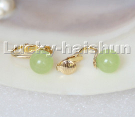 AAA natural 10mm round light green jade beads Earrings clip c317