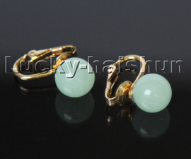 AAA natural 10mm round light blue jade beads Earrings clip c319