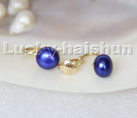Genuine 11mm round navy blue pearls beads Earrings clip c322