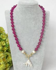 "natural 19"" 10mm round rose jade white Reborn keshi pearl pendant necklace c364"