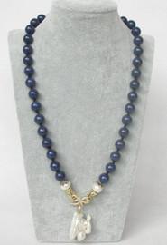 "natural 21"" 10mm round blue lapis lazuli white Reborn keshi pearl pendant necklace c365"
