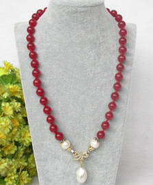 """natural 21"""" 10mm round red jade white Reborn keshi pearl pendant necklace c366"""