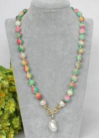 "natural 20"" 10mm round Multicolor jade white Reborn keshi pearl pendant necklace c367"