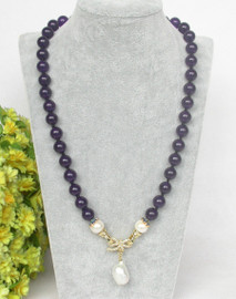 """natural 20"""" 10mm round purple jade white pearls pendant necklace c368"""