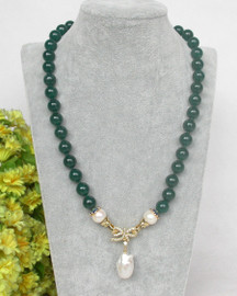 """natural 19"""" 10mm round green jade white pearls pendant necklace c369"""