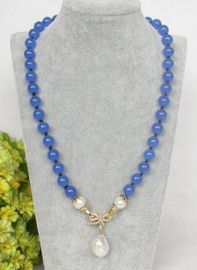 """natural 19"""" 10mm round light blue jade white pearls pendant necklace c370"""