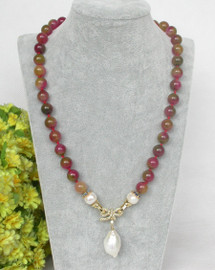 """natural 19"""" 10mm round Multicolor red jade white pearls pendant necklace c371"""