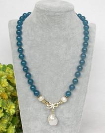 "natural 19"" 10mm round dark Blue jade white pearls pendant necklace c372"