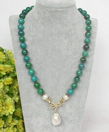 """natural 20"""" 10mm round Azurite chrysocolla white pearls pendant necklace c373"""