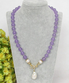 """natural 19"""" 10mm round lavender jade white pearls pendant necklace c374"""