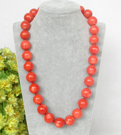 """RARE 21"""" 100% NATURAL 16MM ROUND PINK ORANGE CORAL NECKLACE 925 silver clasp c375"""