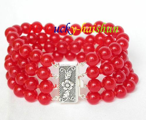 "8"" 8mm 4row round sanguine jade bead Bracelet 925 silver clasp j8044"