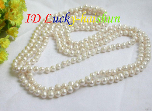 """length 78"""" 8mm white freshwater pearls necklace j7356"""