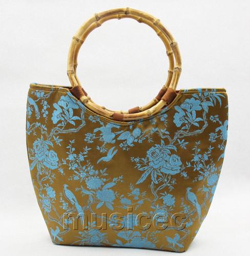 popular coffee silk handbag bag purses bamboo rein T646A28E11