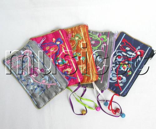 5piece Multicolor zipper embroider silk Jewelry bags handbag pouches T305A6