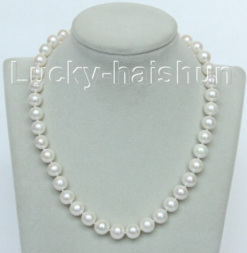 """AA+ natural 17"""" 11mm white round freshwater pearls necklace 14K j10476"""