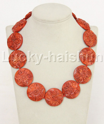 """AAA 19"""" 33mm natural coin pizza carved red sponge coral necklace j11879"""