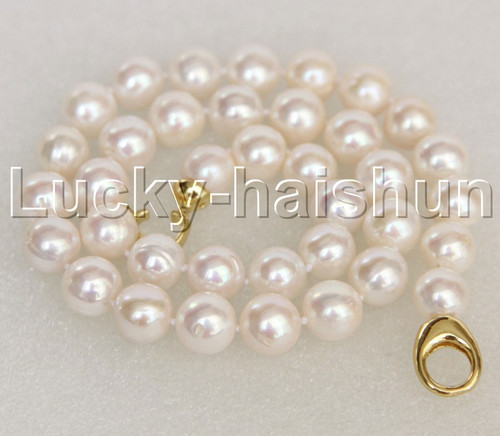 """Super Luster natural 18"""" 12mm round white freshwater pearl necklace j12365"""
