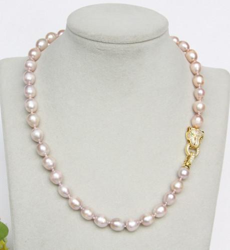 "17"" 11mm baroque rice oval purple potato pearls necklace leopard clasp j13149"