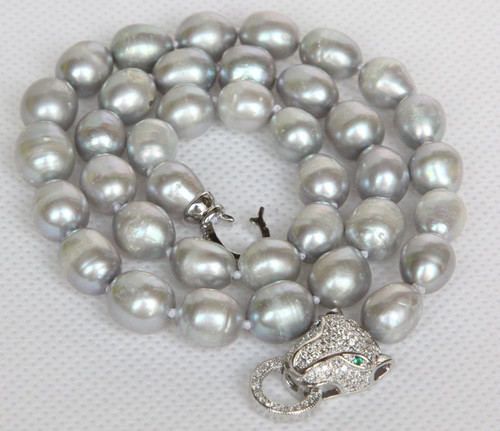 """7"""" 11mm baroque rice oval gray potato pearls necklace leopard clasp j13152"""