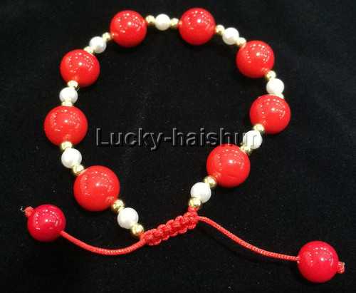 adjustable 10mm round red south sea shell pearls Bracelet j13168