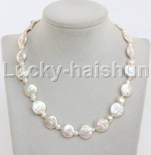 """Luster 17.5"""" 15mm Baroque coin fastener white Pearl Necklace 925 silver clasp j13171"""