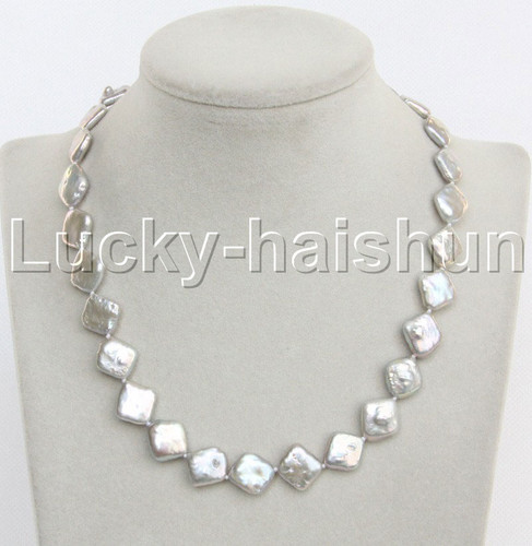 """Luster 16""""-18"""" 12mm Baroque coin square gray Pearl Necklace 18KGP clasp j13172"""