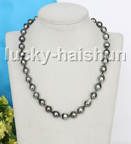 AAA natural 13mm oval drip Baroque black Tahitian pearls necklace 14K clasp c23