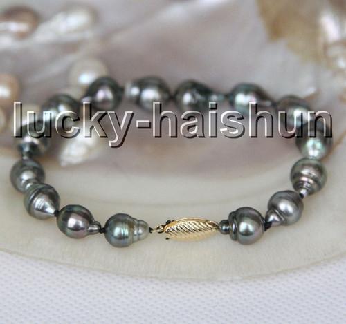 AAA natural 13mm oval drip Baroque black Tahitian pearls bracelet 14K clasp c24