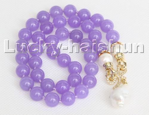 "natural 18"" 10mm lavender jade white Reborn keshi pearls pendant necklace c241"