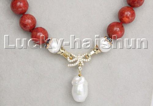 "natural 18"" 14mm red sponge coral white Reborn keshi pearl pendant necklace c242"