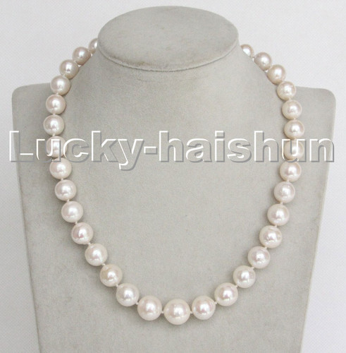 """LUSTER NATURAL 17"""" 13MM ROUND WHITE SOUTH SEA PEARL NECKLACE 14K SOLID CLASP C243"""