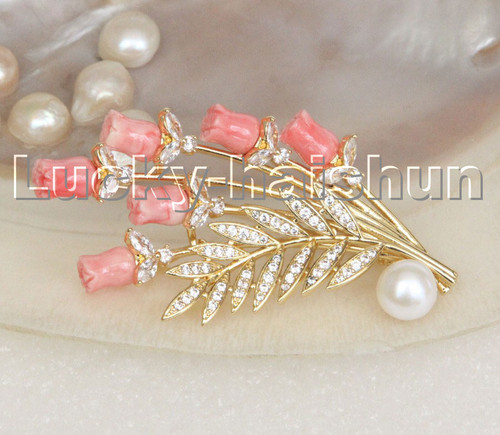 AAA 100% natural carved pink coral flower white pearls brooch pendant c247