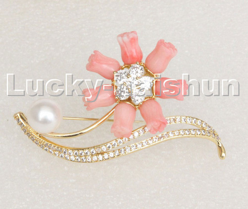 AAA 100% natural carved pink coral flower white pearls brooch pendant c248
