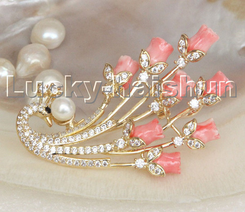 AAA 100% natural carved pink coral peacock pearls brooch pendant c249-1
